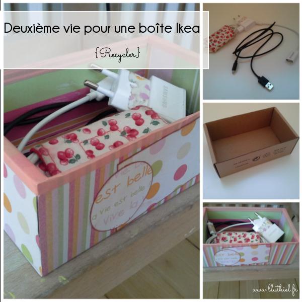 Deuxième vie pour une boîte Ikea - recycler une boîte d'emballage en boîte à câbles